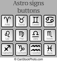 astro signs buttons, abstract vector art illustration