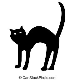 black cat isolated on white vector
