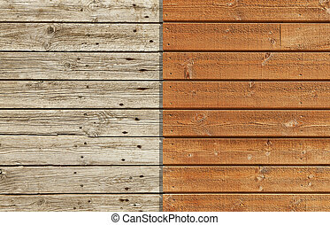 Old and New - Old and weathered wooden wall against a brand...