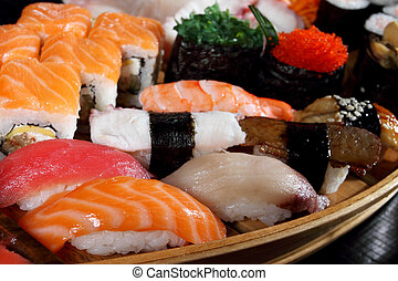 Japanese cuisine from rice and seafood in the big assortment