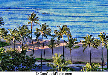 Waikiki Beach - High angle of Waikiki Beach Honolulu Hawaii