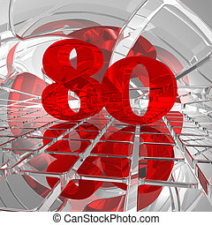 eighty - red number eighty on chrome tiles - 3d illustration