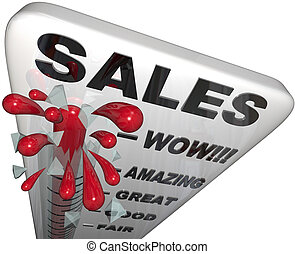 Sales - Thermometer Rising Past Great Levels - Mercury in a...