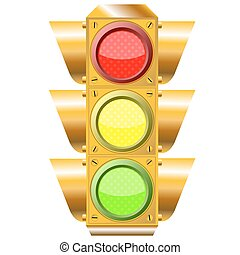 cross road traffic lights over white background, abstract...