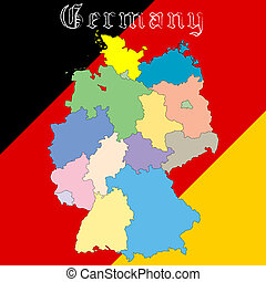 germany map over national colors, abstract vector art...