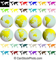 earth globes and maps against white background, abstract...