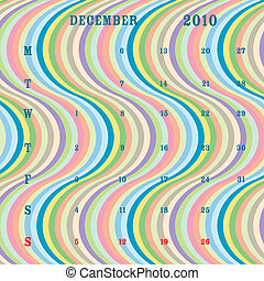 december 2010 - stripes - december 2010 calendar, vector art...