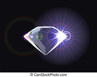 diamond with light reflection, abstract vector art...