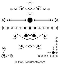 corners and page end ornaments, vector art illustration