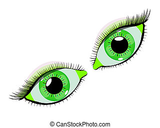 green eyes against white background, abstract vector art...