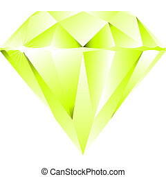 green diamond isolated on white