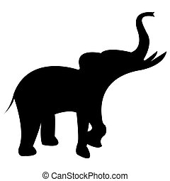 elephant black silhouette isolated on white