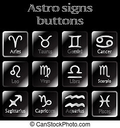 dark astro sign buttons, abstract vector art illustration
