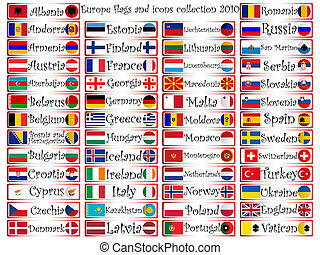 europe flags and icons collection - europe flags and icons...