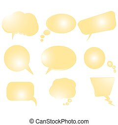 Collection of stylized yellow text bubbles, vector isolated objects on white, vector art illustration, more bubbles in my gallery