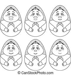 Doll matreshka, contours, set, - Doll matreshka, Russian...