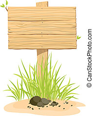 Wooden sign with green grass - Wooden sign with green grass....