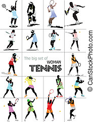 Big set of Woman Tennis player. Colored Vector illustration...