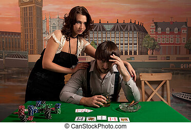 Losing at poker. - Wife sympathizes with her husband. Losing...