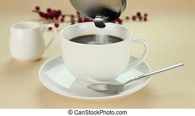 Making A Cup Of Coffee. - Making a cup of coffee with sugar...