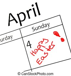 easter day - calender page with detail of the easter day
