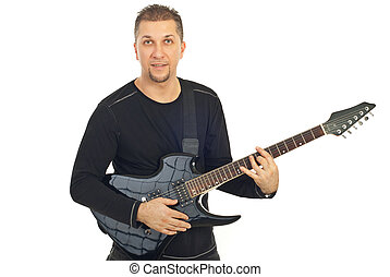 Casual mid adult man with guitar - Casual mid adult man...