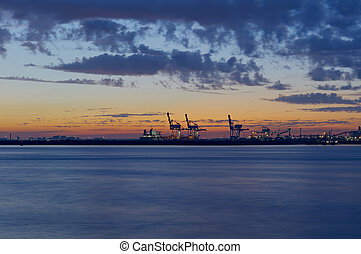 Container Cranes - High Dynamic Range impression of a...