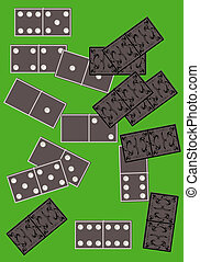 Dominoes board game. - Dominoes board game on a green...