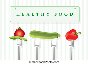 Healthy food - Vector illustration of vegetables attached to...