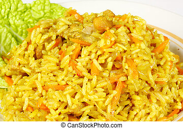 Uzbek national dish - plov on the white