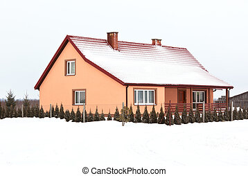 residential house in gray winter day