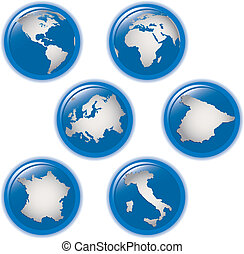 collection of earth globes icons
