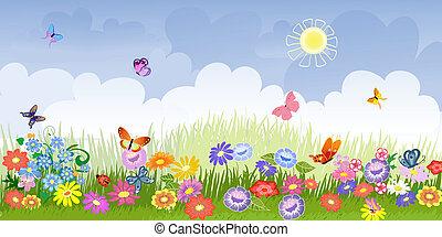 花, 牧草地, パノラマ