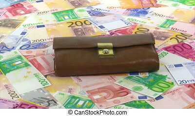 Euro Banknotes with purse rotating