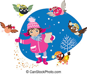 Girl and birds - Vector illustration of a girl feeding funny...