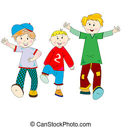 happy kids cartoon, vector art illustration; more drawings...