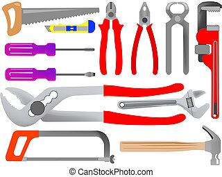 hand tools isolated on white background, abstract art...