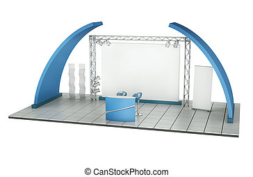 Trade Stand - Trade exhibition stand 3D rendered...