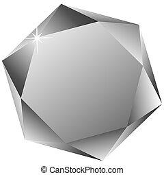 Zeshoekig, diamant, tegen, witte