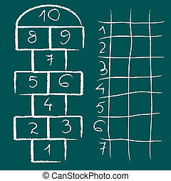 hopscotch game and chart, abstract vector art illustration