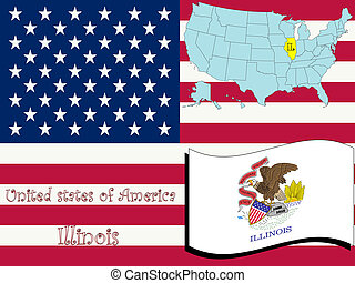 illinois state illustration, abstract vector art