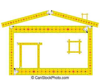 house made of measuring tape against white background,...