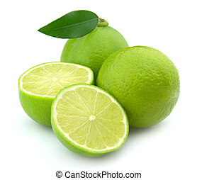 Lobes of a lime with life on a white background
