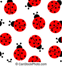 ladybug seamless pattern, abstract texture; vector art...