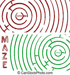 maze concept, round composition; abstract vector art...