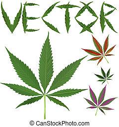 Marijuana, mette foglie, vectors