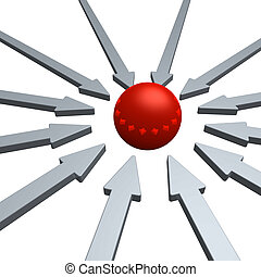 innovation - arrows and red ball in the middle - 3d...