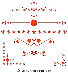 orange corners and page ends ornaments, vector art...
