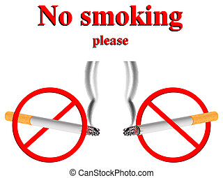 no smoking stylized signs against white background, abstract...