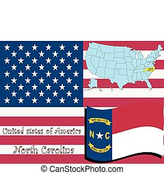 north carolina state illustration, abstract vector art